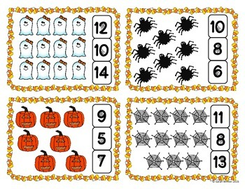 Halloween Count and Clip Cards