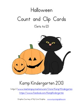 Halloween Count and Clip Cards  (Sets to 12)