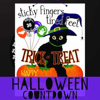 Halloween Countdown Calendar, Halloween Activity, Holiday Project Countdown