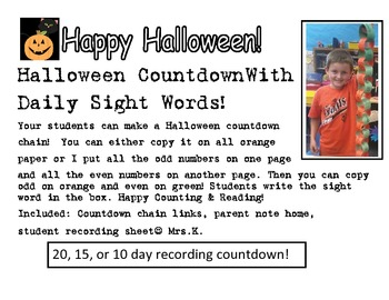 Halloween Countdown and SIGHT WORDS!