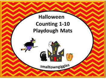 Halloween Counting 1-10 Playdough Mat PK, K, Special Education, Autism
