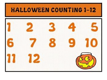 Kindergarten Halloween Counting 1-12 Activities Unit