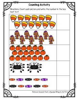 Halloween Counting 1-20 Math Worksheets | TpT
