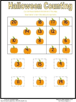 Halloween Counting Backwards from 20 - Easy