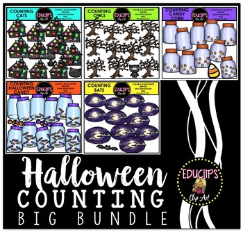 Halloween Counting Clip Art Big Bundle {Educlips Clipart}
