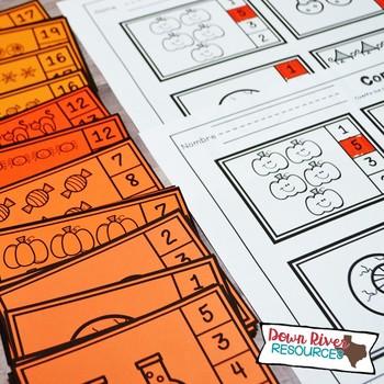 Halloween Counting Clip Cards 1-20 | Kindergarten Math | English & Spanish