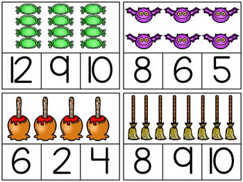 Halloween Counting Clip Cards