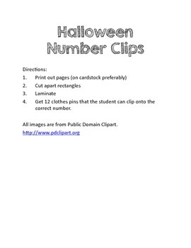 Halloween Counting Clips