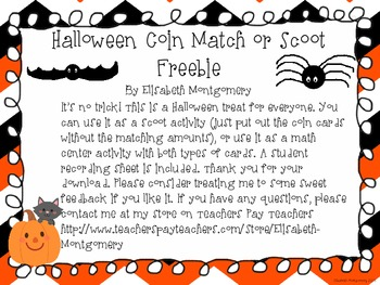 Halloween Counting Coins Scoot or Math Center Freebie