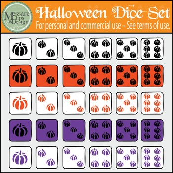 Halloween Counting Dice & Pumpkin Clip Art Set {Messare Clips & Design}