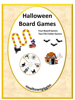 Halloween Counting Board Games Math Centers, File Folder Games