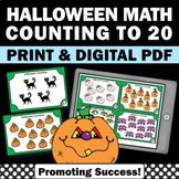 Halloween Math Centers Kindergarten Counting 1-20 Task Cards