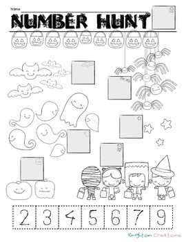 Halloween Counting & Number Recognition Cut & Paste Page