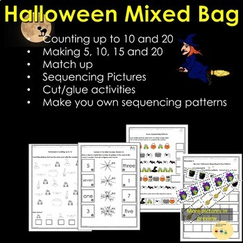 Halloween Counting, Color Pumpkins to make 5, 10, 15, 20, Picture Sequencing etc