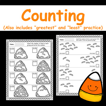 "Halloween Counting Practice - (Includes ""Greatest"" and ""Least"" Practice)"