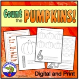 Halloween or Thanksgiving Counting Pumpkins Activity Sheets 1 - 20