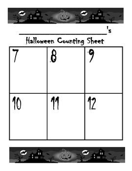 Halloween Counting Sheet