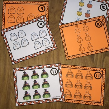 Halloween Counting Task Cards for Kindergarten and 1st Grade Numbers 0 - 10
