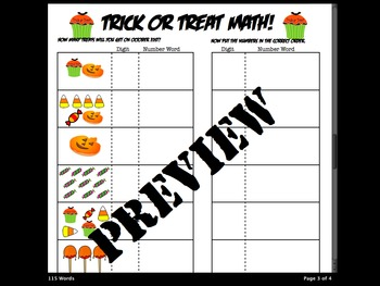 Halloween Counting and Numbers 0-10  digit and words