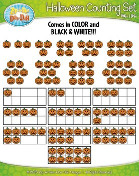 Halloween Counting and Ten Frames Math Clipart Set — Includes 120 Graphics!