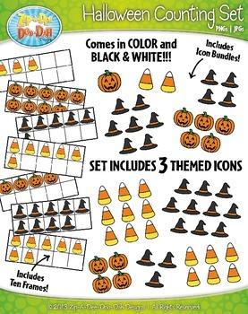 Halloween Counting and Ten Frames Math Clipart {Zip-A-Dee-Doo-Dah Designs}