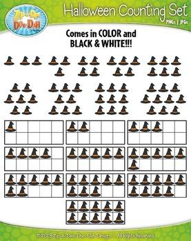Halloween Counting and Ten Frames Math Clipart {Zip-A-Dee ...