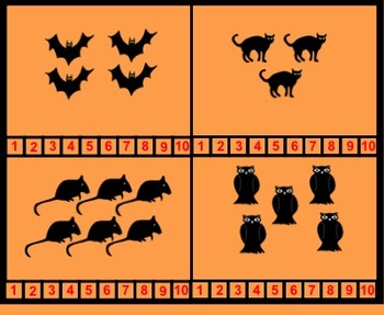 Halloween Counting for Kinders, Interactive Smartboard lessons and printables