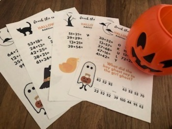 Halloween Crack the Code Jokes! 4 Addition 0-100 worksheets