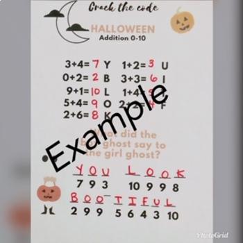 Halloween Crack the Code Jokes! 4 Addition 0-10 worksheets