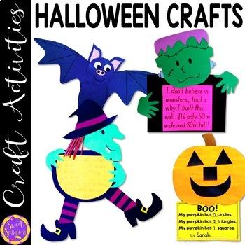 Halloween Crafts (witch, pumpkin glyph, monster and bat)