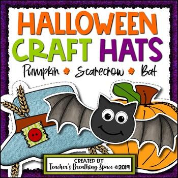 Halloween Craft Hats —- Scarecrow Hat, Bat Hat and Pumpkin Hat