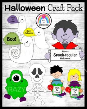 Halloween Craft Pack: Ghosts, Vampire, Monster, Skeleton, Candy Kids