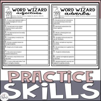 Halloween Craftivity Word Wizard Adjectives & Adverbs