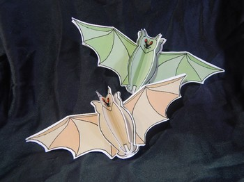 Halloween Crafts: 3D Bats Craft Activity Packet Bundle - Color & B/W