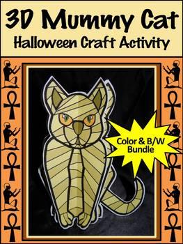 Halloween Crafts: 3D Egyptian Mummy Cat Halloween Activity Bundle - Color & B/W