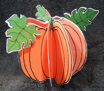 Halloween Crafts: 3D Pumpkins Craft Activity Packet Bundle - Color & B/W