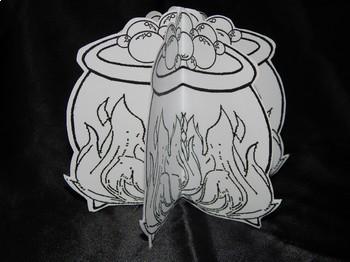 Halloween Crafts: 3D Witch's Cauldron Craft Activity Bundle - Color & B/W
