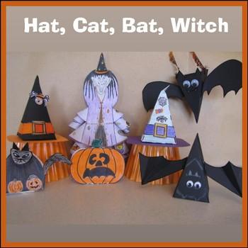 Hallowe'en Crafts - A Hat, A Cat, A Bat, Zelda the Witch & 3 Hallowe'en Cards