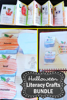 Halloween Crafts BUNDLE, Halloween Literacy Activities Centers Stations +BONUS