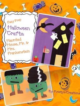 Halloween Crafts: Haunted House & Mr. & Mrs. Frankenstein
