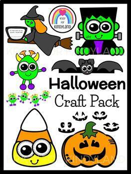 Halloween Crafts Value Pack: Bat,Jack-O-Lantern,Candy,Witch,Frankenstein,Ghost
