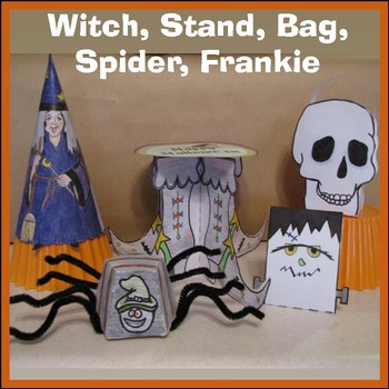 Hallowe'en Crafts - Witch, Witch Shoe Stand, Goodie Bag, Spider, Frankie & Cards