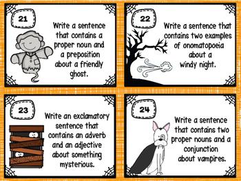 Halloween Creative Sentence Writing (Grammar & Vocabulary Skills)