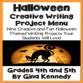 Halloween Writing Project Menu for Upper Elementary Students