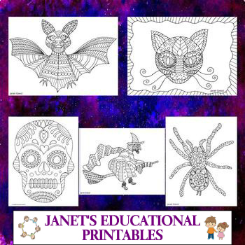 Halloween Creatures Coloring Pages - Set of 5