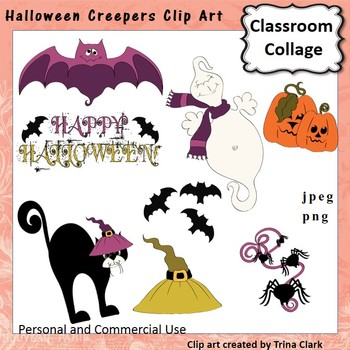 Halloween Creepers Clip Art - color - personal & commercial use