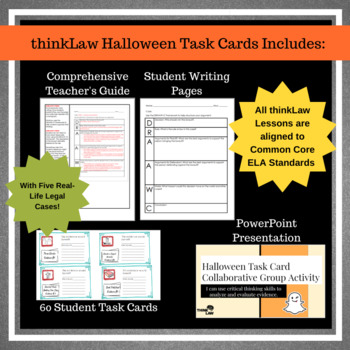 Halloween Critical Thinking Task Cards- Using Real Life Legal Cases!