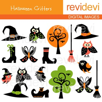 Halloween Critters Clip art (owls, boots, trees) clipart 08066