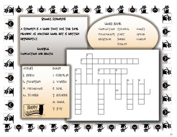 Halloween Synonyms Crossword Puzzle