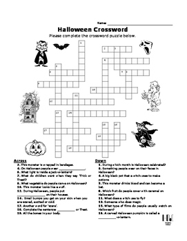 Halloween Crossword Puzzle Teaching Resources